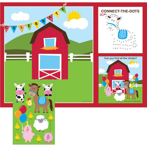 Placemats with Activity Stickers Farmhouse Fun/Case of 96