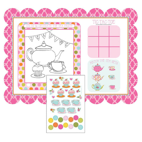 Tea Time Kids Activity Placemats with Stickers/Case of 96