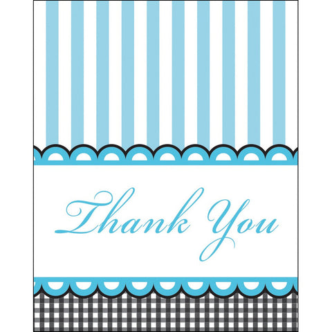 Foldover Thank You Cards Sweet Baby Feet Blue/Case of 48