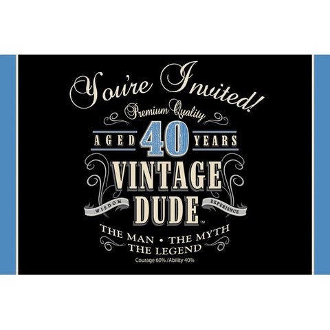 Vintage Dude Invitation 40th/Case of 48