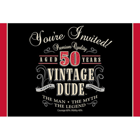 Vintage Dude Invitation 50th/Case of 48