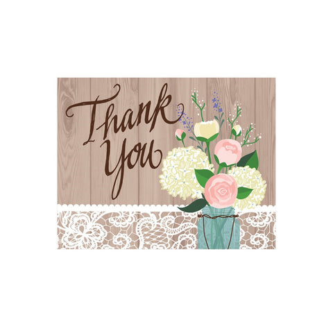 Rustic Wedding Thank You Card/Case of 48