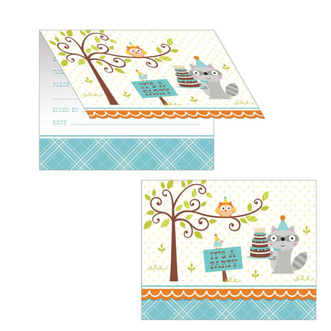Happi Woodland Boy Diecut Foldover Invitation/Case of 48