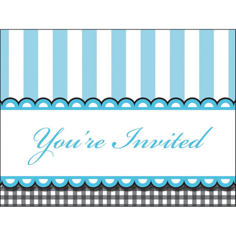 Sweet Baby Feet Blue Invitation Die Cut Horitzontal Gatefold/Case of 48