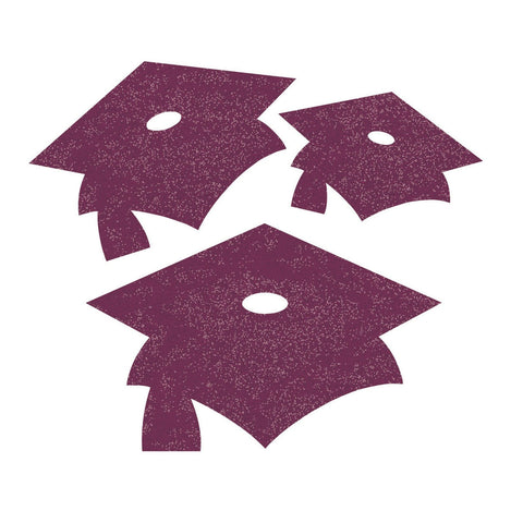Burgundy Mortarboard Mini Glitter Cutouts/Case of 72