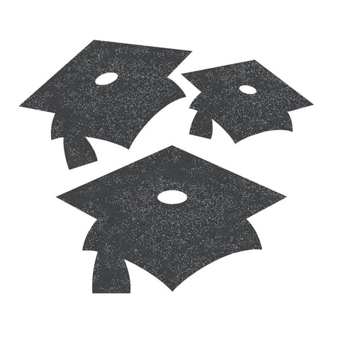Black Velvet Mortarboard Mini Glitter Cutouts/Case of 72