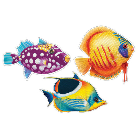 12 inch 2 Sided Cutout Assortment 3 Tropical Fish/Case of 12