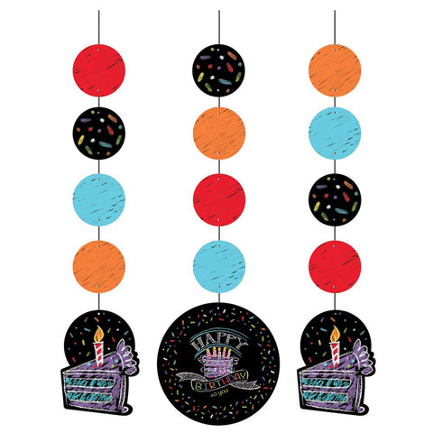 Chalk Birthday 36 inch Hanging Cutouts/Case of 18