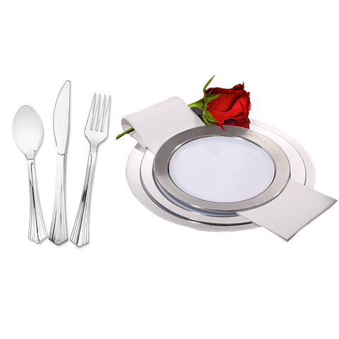Baron 7 1/2 \u0026 9 1/2 inch Plastic Plates White with Silver Band with Silver Cutlery/Set of 120  sc 1 st  KT Party Supply & Plastic Dinnerware Sets \u2013 KT Party Supply