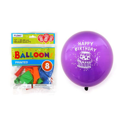 12 Inch Happy Birthday Printed Balloons/Case of 288