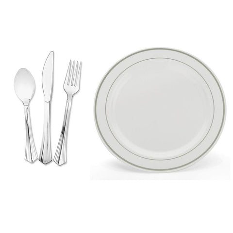 china like collection 75 u0026 inch plastic plates white with silver band with silver cutlery