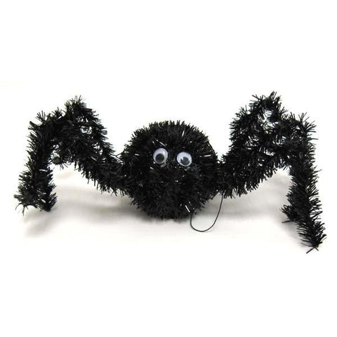 10 inchw black tinsel jumping spidercase of 72