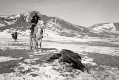 Eagles on Wolf, Deloun Highlands, Olgii Province - Mongolia - Photographie d'Hamid Sardar