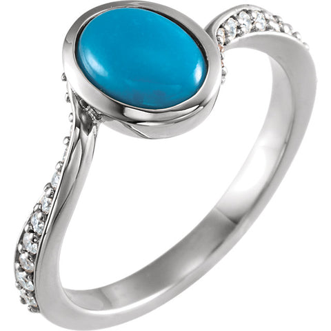 Genuine Turquoise and 1/5 CTW Diamond Ring