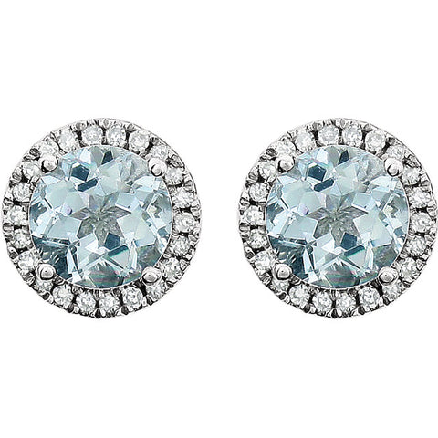 Genuine Aquamarine 1/8 CTW Earrings