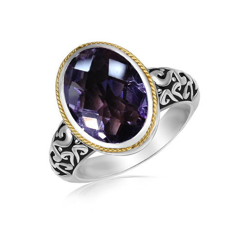18k Yellow Gold and Sterling Silver Ring with a Pink Amethyst Stone - Ultramarine Jewel