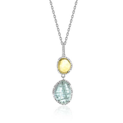 Sterling Silver Layered Blue Topaz, Citrine, and Diamond Pendant - Ultramarine Jewel