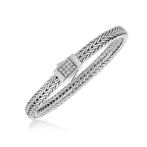 Sterling Silver Braided Style Men's Bracelet with White Sapphire Embellishments - Ultramarine Jewel