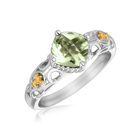 18k Yellow Gold and Sterling Silver Green Amethyst Fleur De Lis Designed Ring - Ultramarine