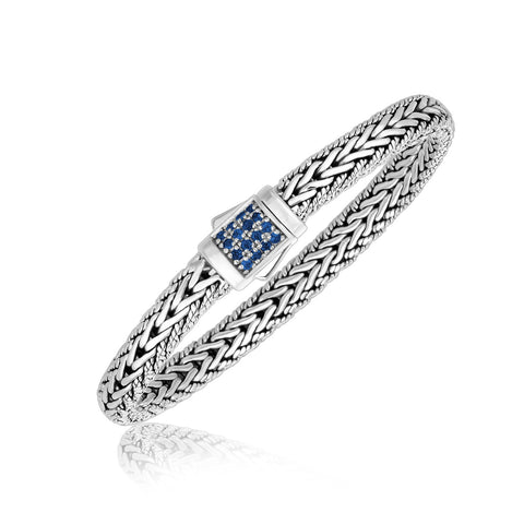 Sterling Silver Braided Men's Bracelet with Blue Sapphire Stones - Ultramarine