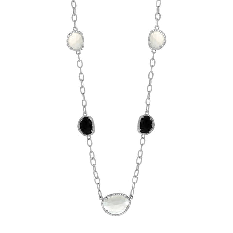 Diamond Accented Moonstone & Onyx Necklace - Ultramarine Jewel