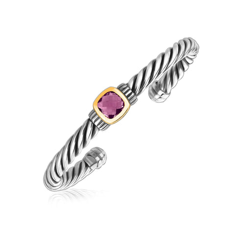 18k Yellow Gold and Sterling Silver Rope Cuff Bangle with Amethyst Centerpiece - Ultramarine