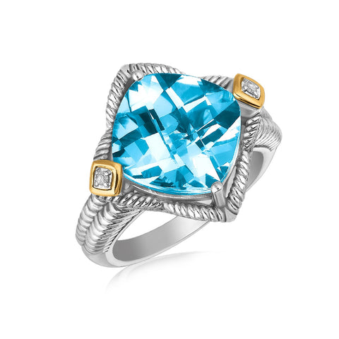 18k Yellow Gold and Sterling Silver Blue Topaz Cushion Ring with Diamond Accents - Ultramarine