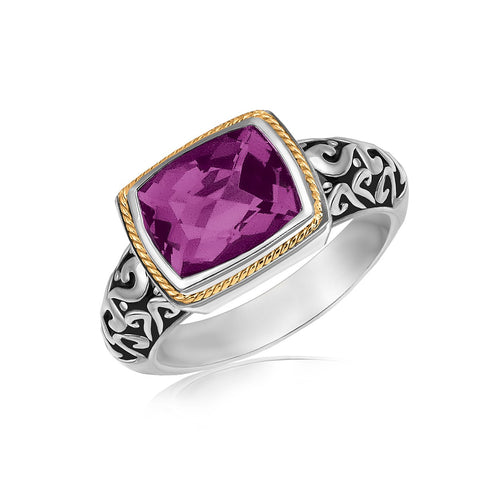 18k Yellow Gold and Sterling Silver Rectangular Amethyst Ring - Ultramarine Jewel
