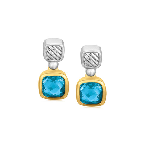 18k Yellow Gold and Sterling Silver Drop Earrings with Bezel Set Blue Topaz - Ultramarine