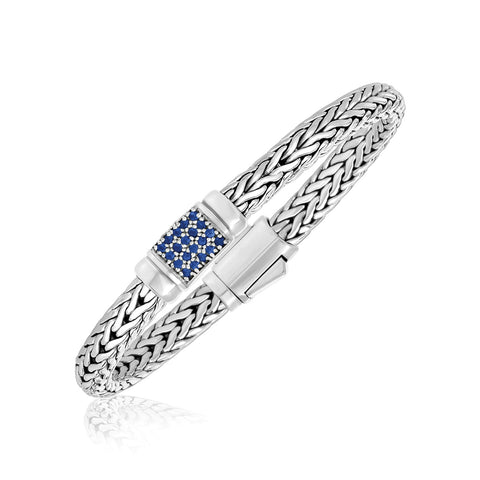 Sterling Silver Weave Motif Bracelet with Blue Sapphire Embellishments - Ultramarine Jewel