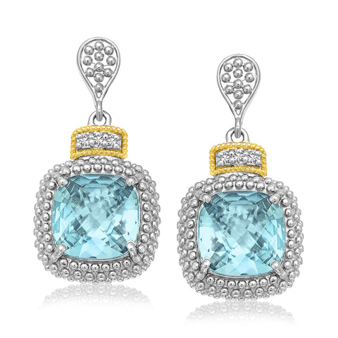 18k Yellow Gold & Sterling Silver Sky Blue Topaz & Diamond Earrings (.05cttw) - Ultramarine Jewel
