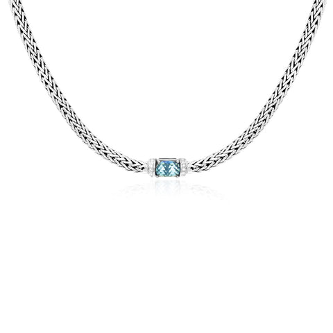 Sterling Silver Woven Chain Necklace with Blue Topaz and White Sapphires - Ultramarine Jewel