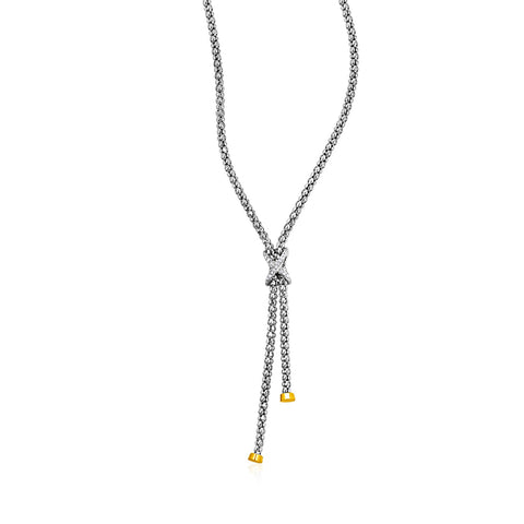 Popcorn Texture Necklace with Diamonds in Sterling Silver and 18k Yellow Gold - Ultramarine
