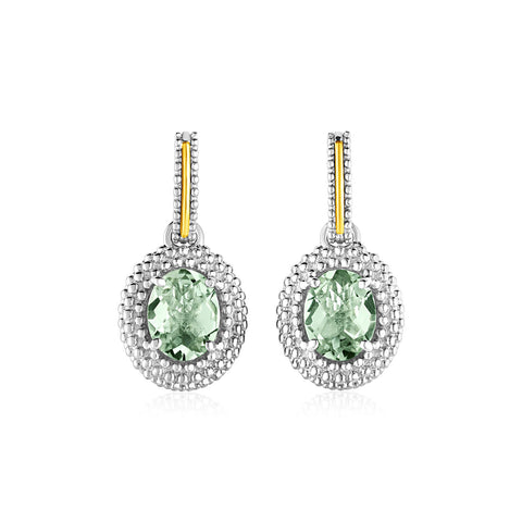 Oval Green Amethyst Earrings in 18k Yellow Gold & Sterling Silver - Ultramarine