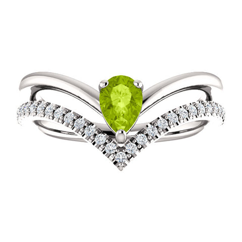 Genuine Peridot and 1/6 CTW Diamond Ring - Ultramarine Jewel