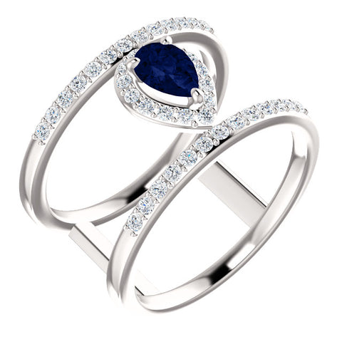 Genuine Sapphire and 1/3 CTW Diamond Ring - Ultramarine