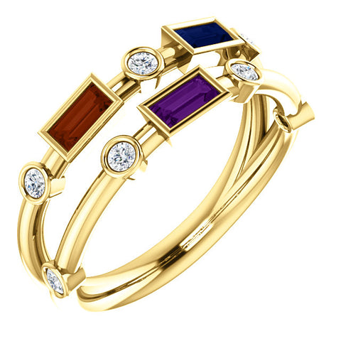 3 Birthstones Stackable Ring