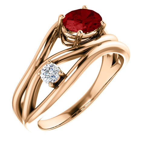 Chatham Ruby and 1/10 CTW Diamond Ring