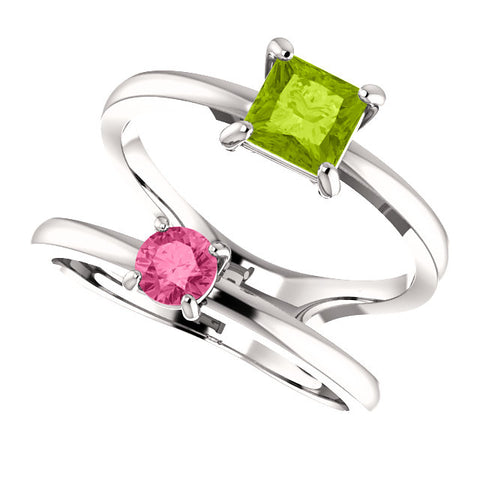 Genuine Peridot and Pink Tourmaline Two Stone Ring