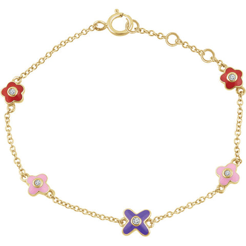 Diamond Flower 7 Inch girls bracelet