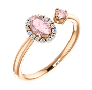 Two-Stone Genuine Morganite ring - Ultramarine