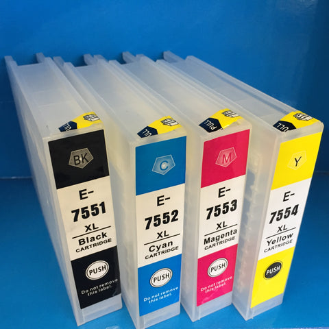 New Refillable Ink Cartridges to replace Epson T7551 T7552 T7553 T7554 75