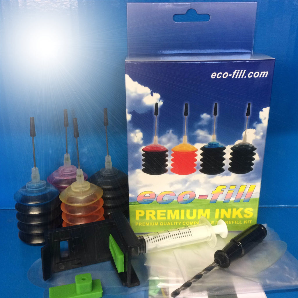 Eco-Fill Ink Cartridge Refill Kit HP Deskjet 2632 3270 3370 3720 3722 3723 3730 3732 304