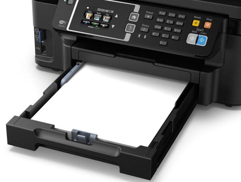 Epson Workforce WF-3620DWF printer showing large 250 sheet paper tray.