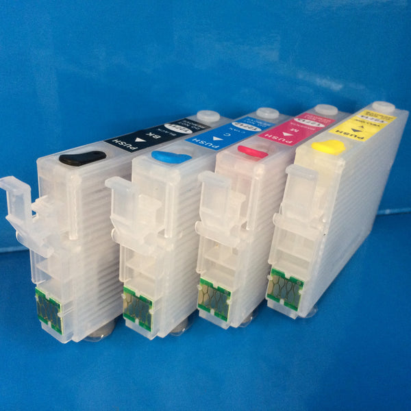 27 Series Refillable Cartridges + 400ml Ink Epson 2711-2714 WF 7110DTW 7610DWF Non OEM