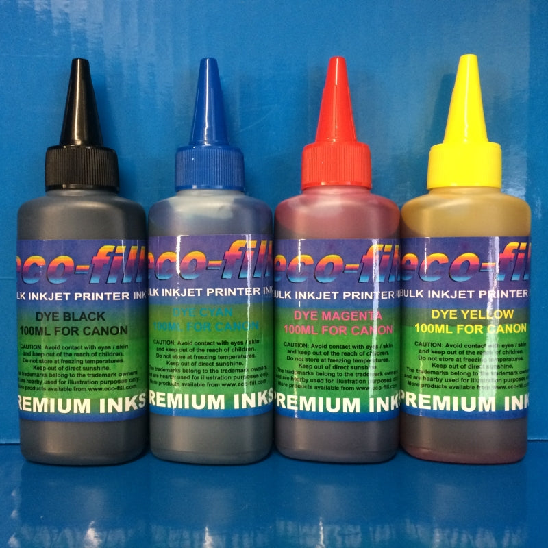 4X100ML ECO-FILL DYE REFILL INK FOR CANON PIXMA PRINTERS NON OEM