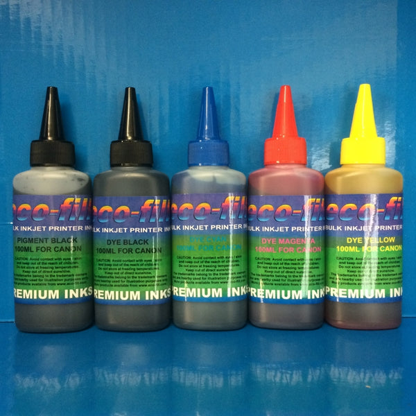 5X100ML ECO-FILL DYE/PIGMENT REFILL INK FOR CANON PIXMA PRINTERS NON OEM