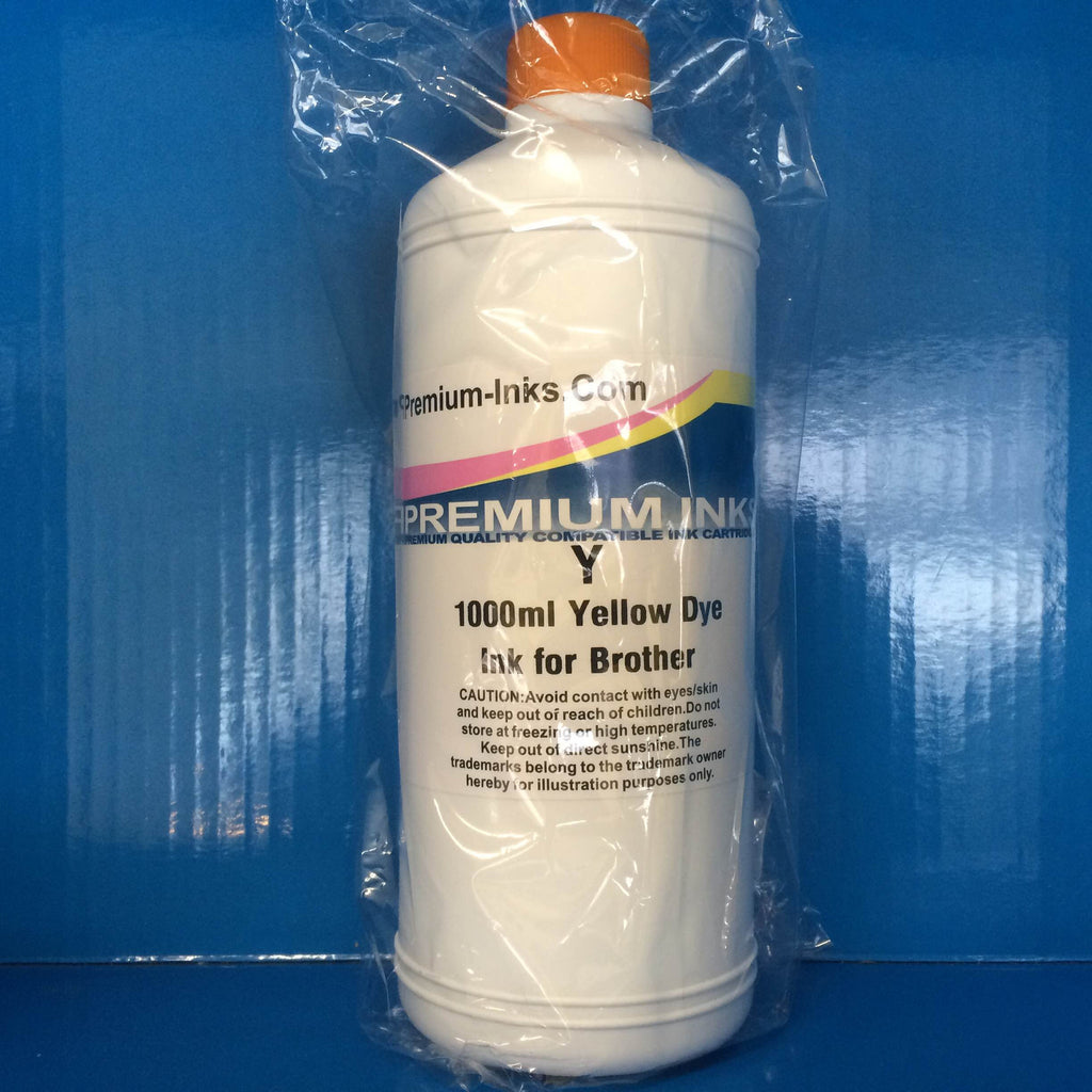 LITRE YELLOW BOTTLE DYE REFILL PRINTER INK FOR REFILLING BROTHER CARTRIDGES Non OEM