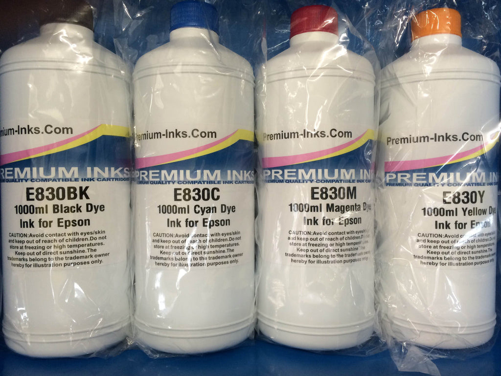 8x 1 Litre Bottles Epson Refill Printer Ink Black/Cyan/Mg/Yw Non OEM