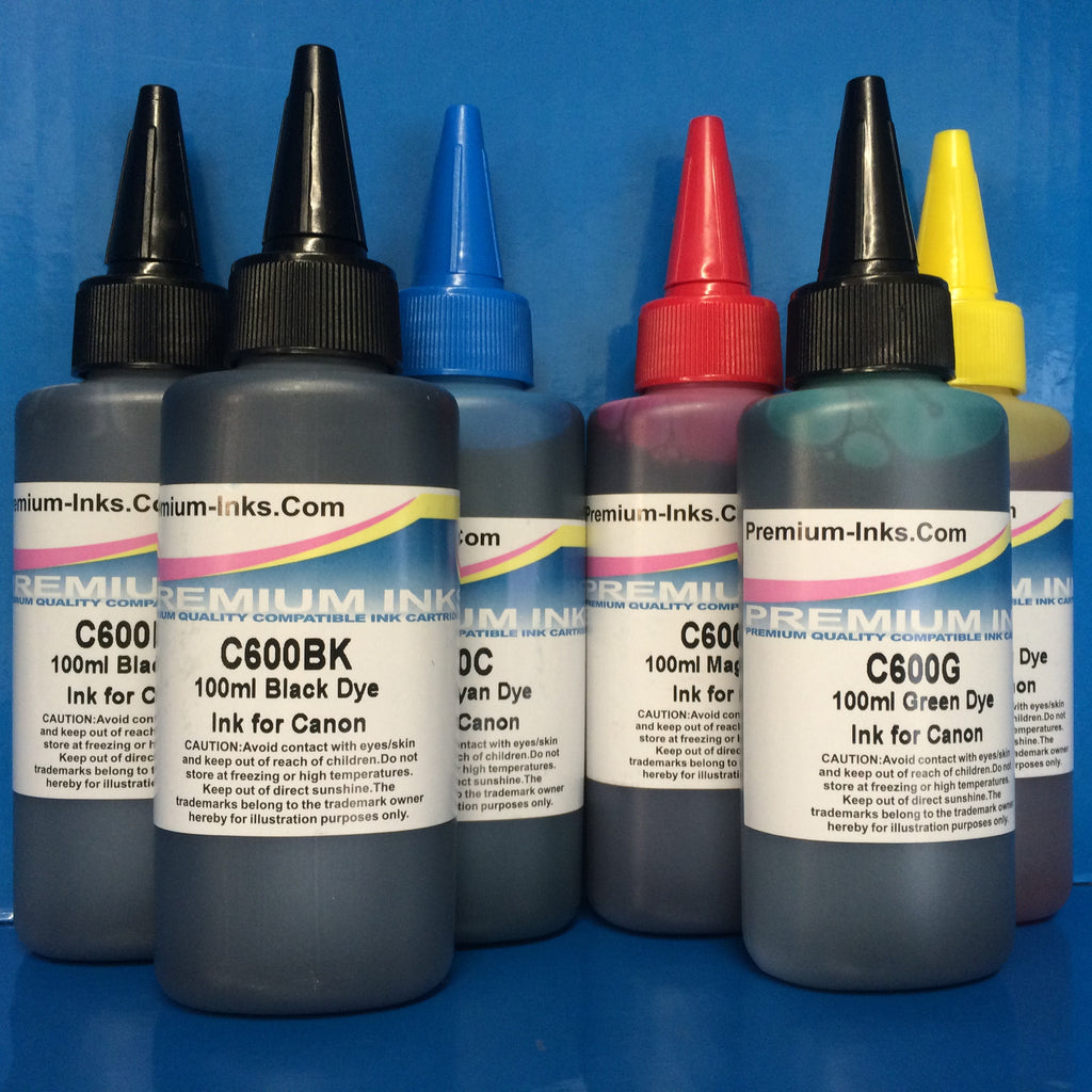 6 DYE INK REFILL BOTTLES CANON MG6250 MG6350 MG8150 MG8250 MG8350 INCLUDES GREY!